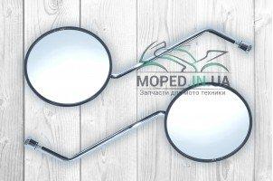 Зеркала  Alpha  M8  круглые, черные, ножка хром  Z-1069