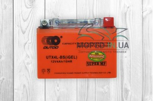 "АКБ  12V 4A  гелевый  с датчиком  115-70-85mm  UTX4L-BS  ""OUTDO""  (оранжевый, 2018г)"